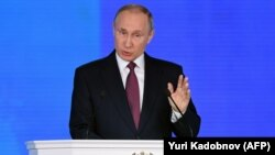Путин Федерациялар Кеңешинде сөз сүйлөп жатат. 1-март, 2018-жыл.