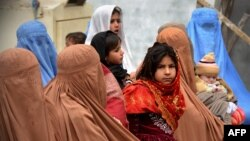 Afghan refugees waiting for renewing their registration cards in Khyber Pakhtunkhwa (file photo).