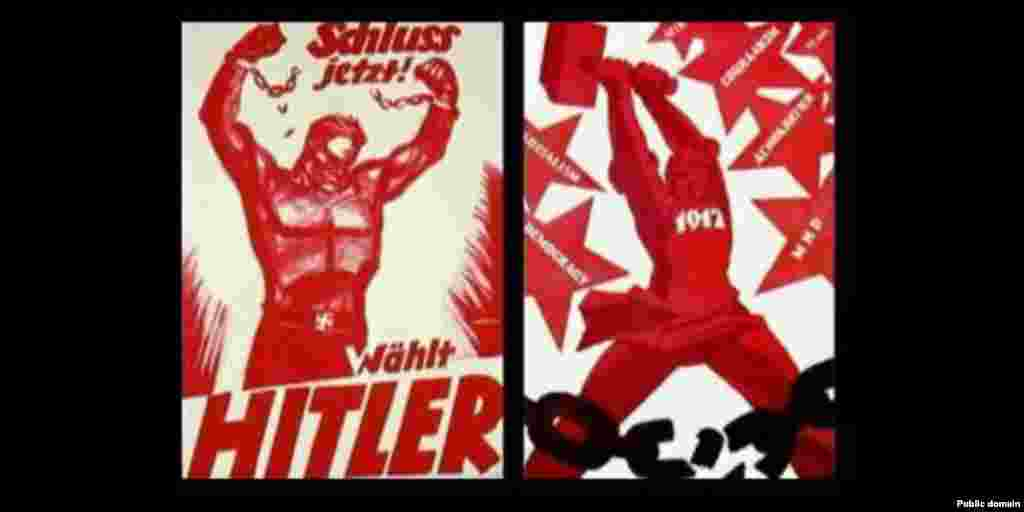 """German text: """"We've had enough! Vote for Hitler"""" Russian text: """"1917 -- Socialism. Democracy. Peace"""""""