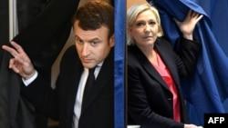Эммануэль Макрон и Марин Ле Пен выходят из кабинок для голосования. Коллаж