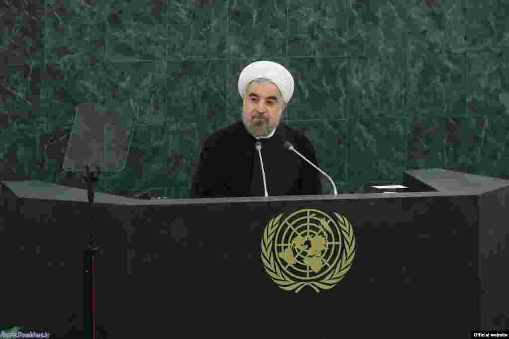 حسن روحانی گفت«امروز، فصل جدیدی در روابط ایران با جهان آغاز شده است». آقای روحانی در سخنرانی خود برای سران کشورها گفته است که تهران در کشورهای سوریه و یمن از «حکومت اکثریت» حمایت میکند.