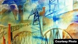 """Василий Маслов. """"Индустриальный пейзаж"""". Экспонат выставки в Центре авангарда Еврейского музея"""
