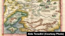 İtalyan haritaci Cirolamo Ruşelliniñ (Girolamo Ruscelli) 1572 senesiniñ Rusiye ve Ukraina haritası