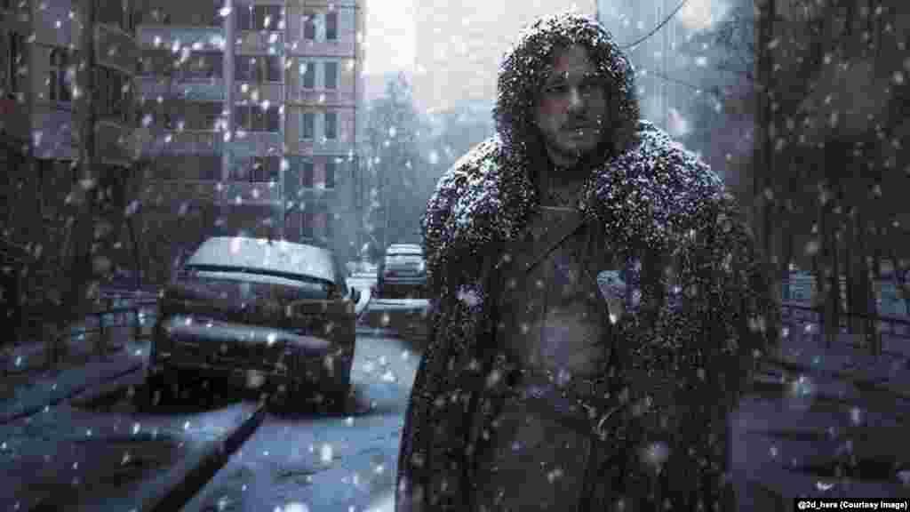 """Зима уже пришла. Джон Сноу из сериала """"Игра престолов"""" страдает от российских морозов"""