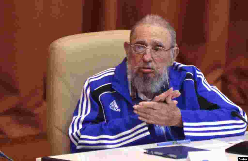 A frail-looking Fidel Castro at the Cuban Communist Party congress in Havana earlier this year.