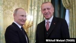 Путин и Эрдоган на переговорах в Москве в апреле 2019 г.