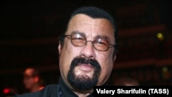 U.S. actor Steven Seagal attends the World Boxing Super Series cruiserweight final in Moscow on July 21.