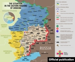 A December 6 map showing the security situation in eastern Ukraine, according to the National Security and Defense Council.