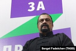 U.S. film star and martial artist Steven Seagal attends the launch of the Russian nationalist For Truth political party.