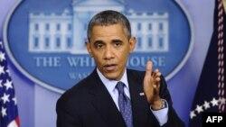 ԱՄՆ - Նախագահ Բարաք Օբաման ելույթ է ունենում Սպիտակ տանը, Վաշինգտոն, 8-ը հոկտեմբերի, 2013թ․