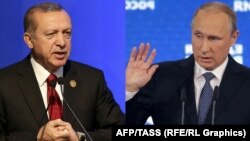 A combo photo of Turkish President Recep Tayyip Erdogan (L) and Russian President Vladimir Putin