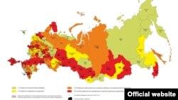 O hartă a utilizării Internetului în Rusia (Agora)