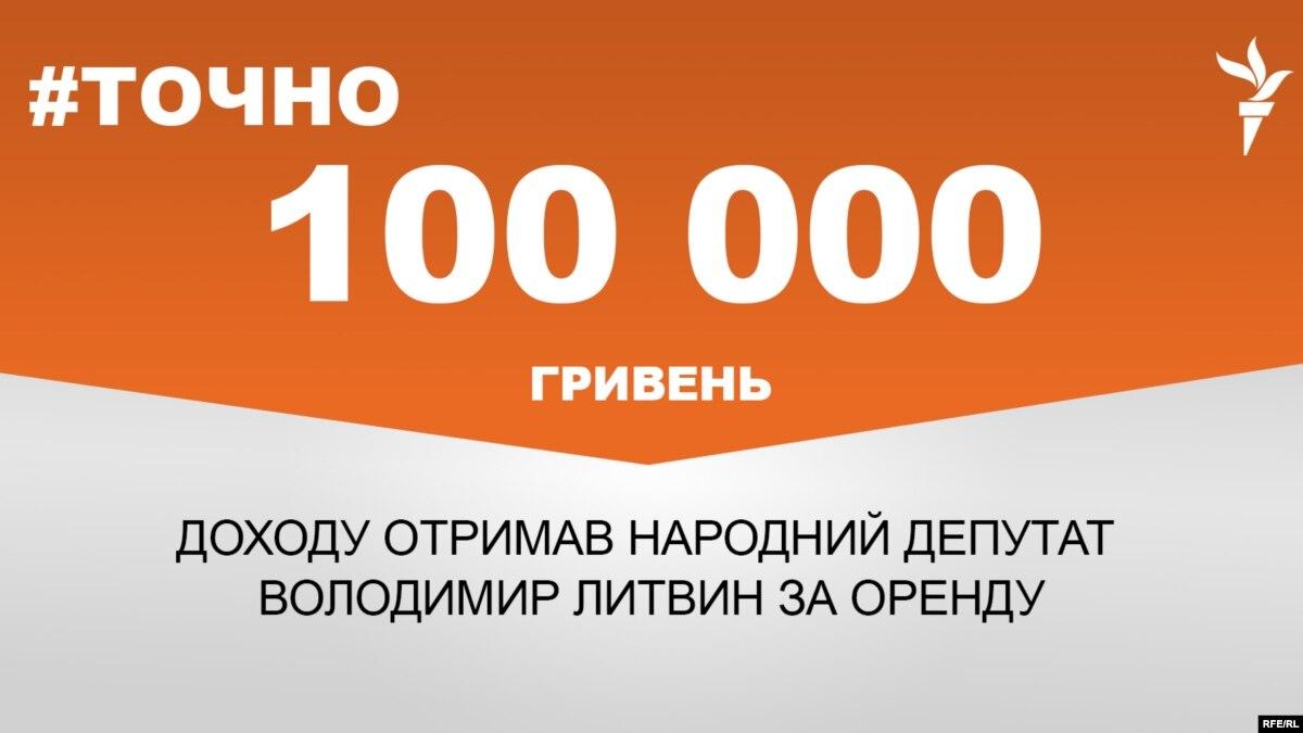 Владимир Литвин получил 100 тысяч гривен дохода от аренды имущества