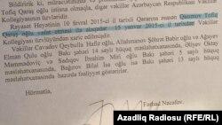 Vəkillər Kollegiyasının cavabı. Tofiq Qasımov protokol tərtib olunmamışdan yarım il əvvəl ölüb.