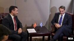 Премиерите на Македонија и на Грција Зоран Заев и Кирјакос Мицотакис на средба во Њујорк