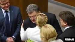 Петр Порошенко и Юлия Тимошенко в ноябре 2014-го