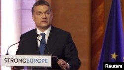 Hungary -- Prime Minister Viktor Orban makes a speech during a ceremony in the Cupola Hall of the Parliament in Budapest, 06Jan2011
