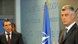 Kosovo Prime Minister Hashim Thaci and NATO Secretary-General Anders Fogh Rasmussen at a joint press conference in Pristina on September 15.