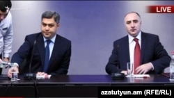 Artur Vanetsian (left) and Sasun Khachatrian confirmed the authenticity of the recording at a joint news conference in Yerevan.