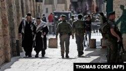 Силы безопасности Израиля на улицах мусульманского квартала в Старом городе Иерусалима