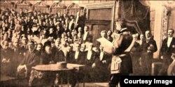 Discursul Regelui Ferdinand I la inaugurarea primului Parlament (Foto: Biblioteca Centrală Universitară, Iași)