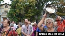 Одну из акций протеста в центре Кишинева провели пенсионеры