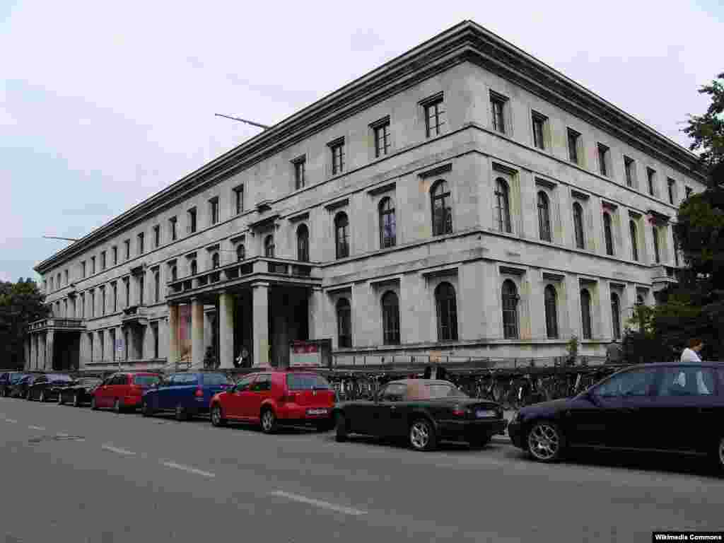 The Fuehrerbau, a Nazi Party building in Koenigsplatz, Munich, was where the the Munich Agreement was signed in 1938. Today it is a school for music and theater called the Hochschule fuer Musik und Theater Muenchen.