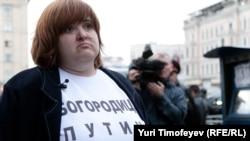 Адвокат Виолетта Волкова во время акции в защиту 31-й статьи Конституции. 31 августа 2012 года