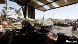 Место взрыва в районе Эр-Рашидия