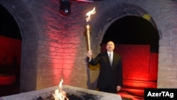 Azerbaijan -- A ceremony to light the flame of Baku-2015 first European Games - 26Apr2015