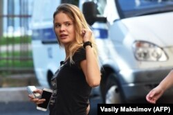 Pussy Riot member Veronika Nikulshina arrives for a court hearing in Moscow on July 31 after being detained along with three others the day before.