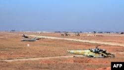 База сирийских ВВС в районе Алеппо