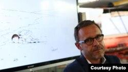 Эммануэль Шоню на международной встрече художников-карикатуристов в Кане