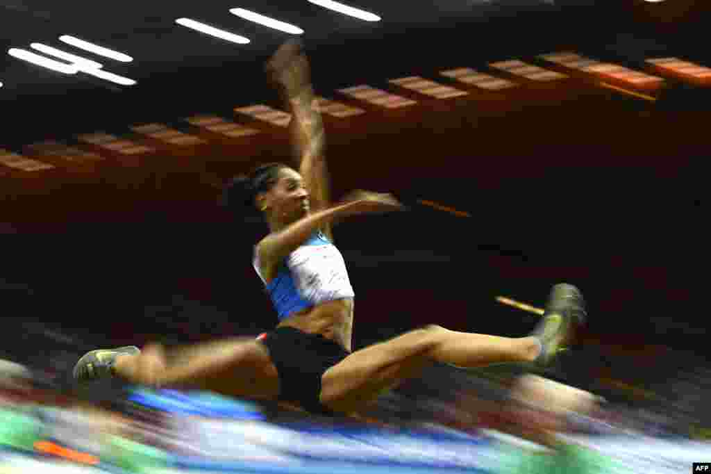 France's Eloyse Lesueur competes during the women's long jump final at the European Indoor Championships in Gothenburg, Sweden. (AFP/Adrian Dennis)