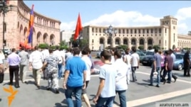 Armenia - A demonstration in Yerevan in support of Syrian Armenians taking refuge in Armenia, 19Jul2012.