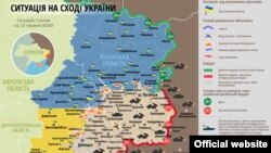 Фрагмэнт мапы зоны баявых дзеяньняў на ўсходзе Ўкраіны на 10 чэрвеня 2015 году