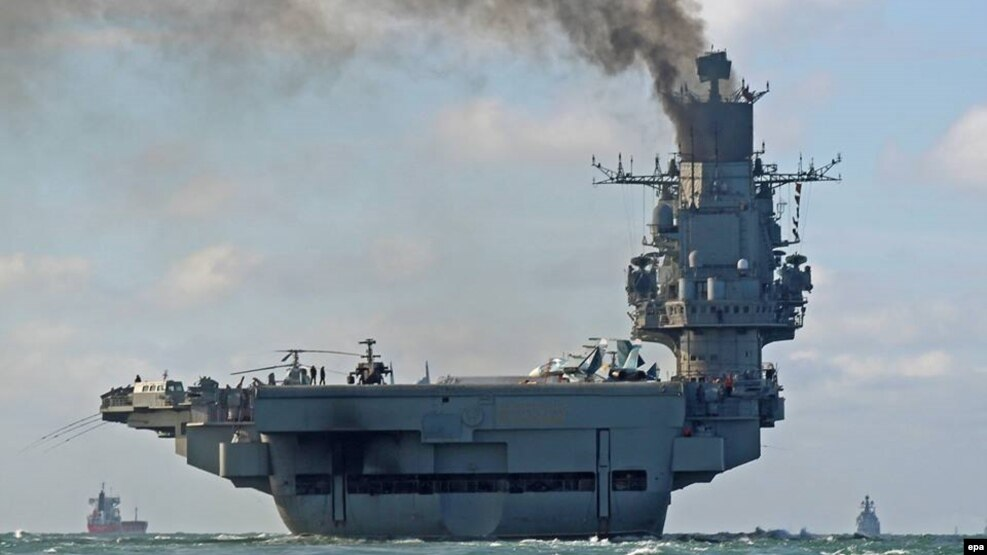 The Russian aircraft carrier the Admiral Kuznetsov and other ships in Russia's fleet will reportedly begin the withdrawal from Syria. (file photo)