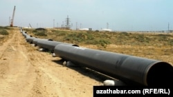 An archive photo of a section under construction of a Turkmen gas pipeline.
