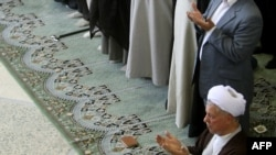 Ali Akbar Hashemi Rafsanjani (bottom right) leads Friday Prayers on July 17.