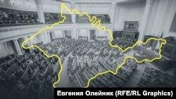 Колаж: обриси Криму на тлі сесійної зали Верховної ради