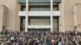 Anti-government protesters at Tehran's Sharif University on January 13, with demonstrators chanting slogans against the Iranian leadership, according to social-media posts.