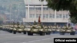 Nagorno-Karabakh - A military parade in Stepanakert.