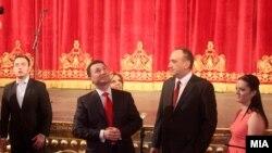 Премиерот Никола Груевски и државниот врв на отворањето на Стариот театар во Скопје.
