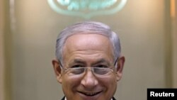 Israeli Prime Minister Binyamin Netanyahu at a cabinet meeting in Jerusalem on June 14
