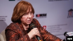 Nobel Prize winner Svetlana Alexievich does not expect political change soon in Belarus, Russia, or other post-Soviet states.
