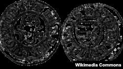 Însemnele heraldice ale Moldovei pe o monedă de la Petru Mușat
