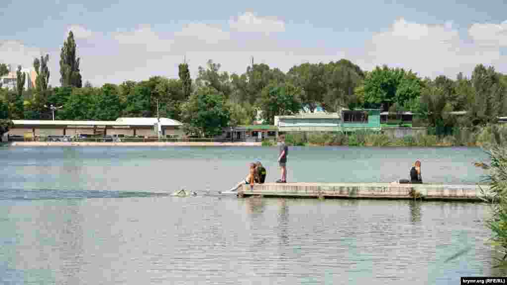 Местные подростки плавают в Нижнем пруду. Это самый старый искусственный водоем в крымской столице, он устроен на реке Славянка в 20-х годах XIX века