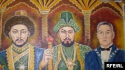 President Nursultan Nazarbaev (right) depicted next to 18th-century Kazakh khans Ablai (center) and Abulkhair.