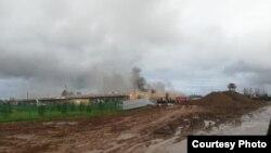 Пожар в строящейся больнице. Фото: Алексей Нефедов
