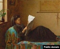 Істмэн Джонсан, «Дзяўчына чытае газэту» (1872)